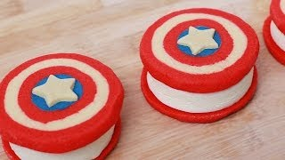 CAPTAIN AMERICA ICE CREAM SANDWICHES - NERDY NUMMIES