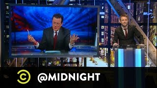 Stephen Colbert Introduces #HashtagWars - #NYCIn3Words - @midnight w/ Chris Hardwick
