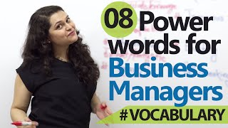 Business English Lesson - 8 Power words for business managers (Learn English)